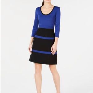 ANNE KLEIN COLORBLOCK FIT AND FLARE KNIT DRESS